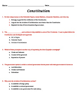 Articles of Conf. and Constitution Assessment
