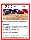 U.S. Constitution and Articles BUNDLE 4th grade SS