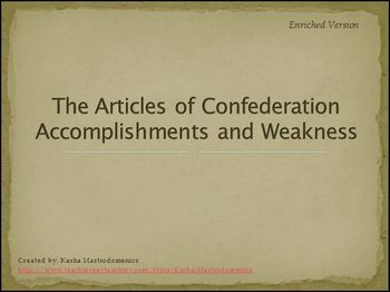 Articles of Confederation Accomplishments and Weakness Bundle