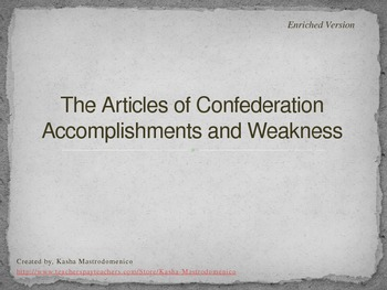 Articles of Confederation Accomplishments and Weaknesses PowerPoint