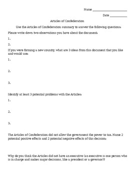Articles of Confederation Analysis Activity