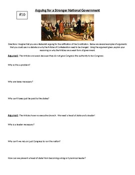 Articles of Confederation - Arguing for a stronger government scenarios