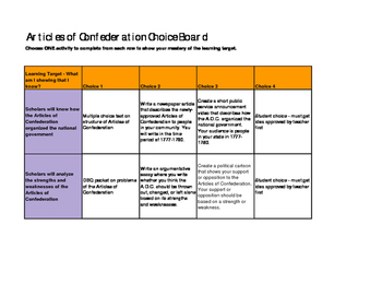 Articles of Confederation Choice Board