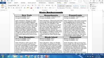 Articles of Confederation Classroom Simulation