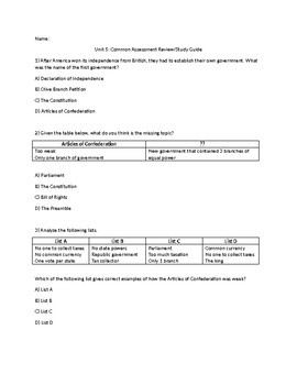 Articles of Confederation-Constitution study guide
