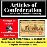 Articles of  Confederation Differentiated Reading Passage, November 15
