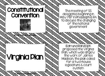 Articles of Confederation Flash Cards - Black and White