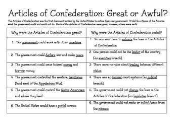 Articles of Confederation: Great? or Awful? Chart (modfied & key included)