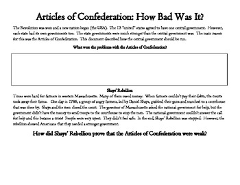 Articles of Confederation: How Bad Was It? (reading and writing)
