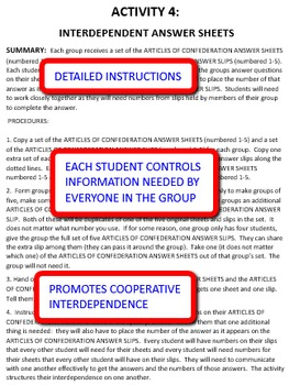 Articles of Confederation: Interdependent Answer Sheets Activity