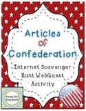 Articles of Confederation Internet Scavenger Hunt WebQuest Activity