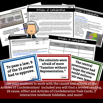 Articles of Confederation Leveled Readings,Task Cards, and Notebook Foldables