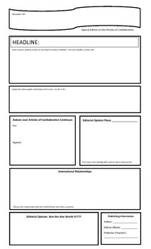Articles of Confederation Newspaper Template