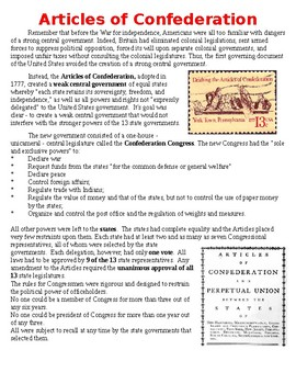 Articles of Confederation Packet (Information with Questions)