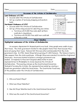 Articles of Confederation Political Cartoon Worksheet with Answer Key
