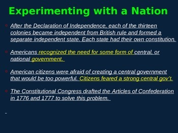 US History 8 Articles of Confederation PowerPoint