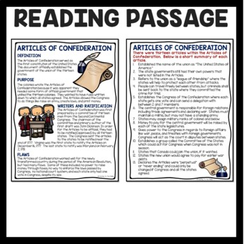 Articles of Confederation Reading Comprehension; American Revolution