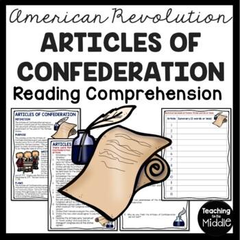 Articles of Confederation Reading Comprehension; American Revolution