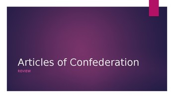 Articles of Confederation Review Power Point