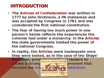 Articles of Confederation, Shays' Rebellion & the United States Constitution