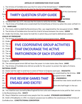 Articles of Confederation: Study Guide and Activity Pack