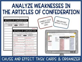 Weaknesses of the Articles of Confederation Task Cards - Cause and Effect