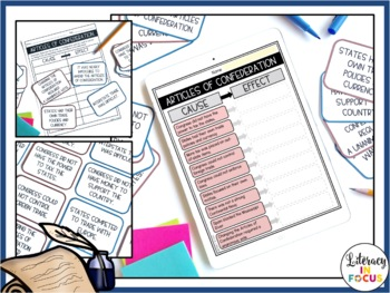 Weaknesses of the Articles of Confederation Cause and Effect Task Cards