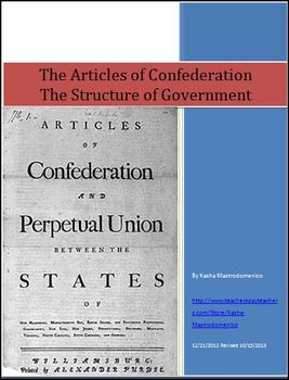 Articles of Confederation The Structure of Government Bundle