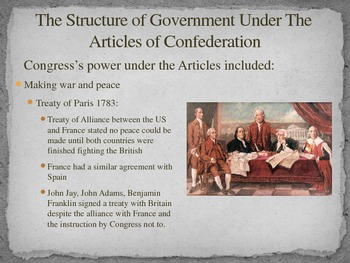 Articles of Confederation The Structure of Government Differentiated PowerPoint