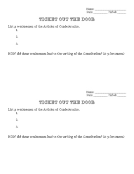 Articles of Confederation - Ticket Out the Door