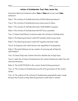 Articles of Confederation True False Worksheet with Answer Key