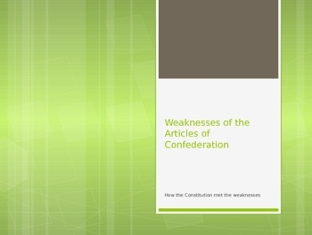 Articles of Confederation: Weakness