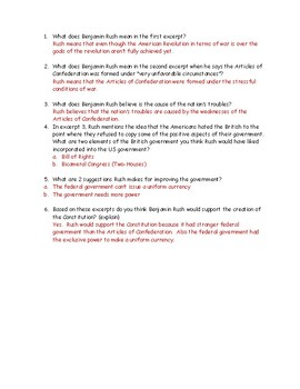 Articles of Confederation Weaknesses Worksheet and Answer Key