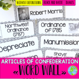 Articles of Confederation Word Wall without definitions - Black and White