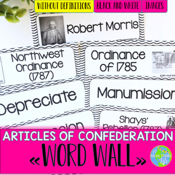 Articles of Confederation Word Wall without definitions -