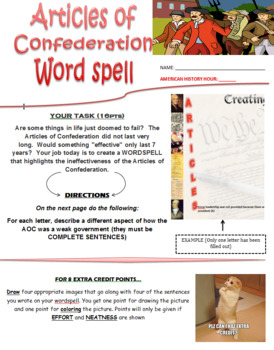 Articles of Confederation Wordspell + Reading on Shays Rebellion