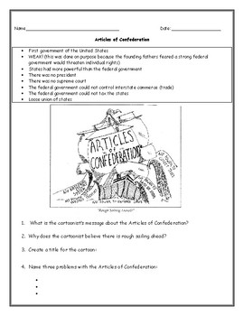 Articles Of Confederation Worksheet Answer Key - Nidecmege