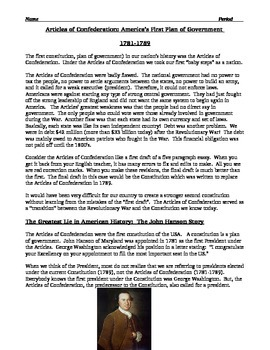 Articles of Confederation Worksheet - description and ...