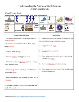 Articles of Confederation and Constitution Fill-in-the-Blanks Activity