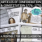 Articles of Confederation and Constitution Printable Timeline