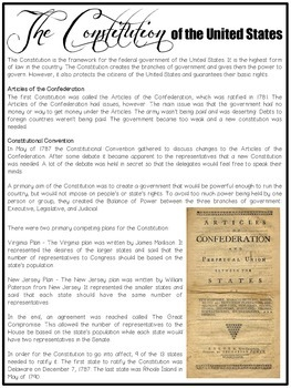 Articles of Confederation and Constitution (Read the Room)
