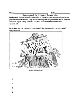 Articles of Confederation and Constitution Worksheet Packet Bundle with Key