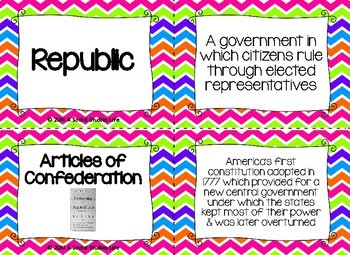 Articles of Confederation and Constitutional Convention Flash Cards