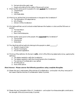Articles of Confederation and Early America (Constitution) Test/Quiz