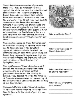 Articles of Confederation and Shay's Rebellion
