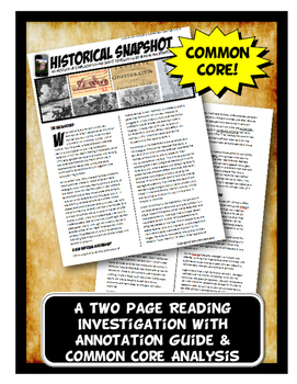 Articles of Confederation and Shays' Rebellion Historical Snapshot Close Reading
