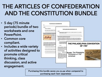 Articles of Confederation and U.S. Constitution Bundle - US History Common Core
