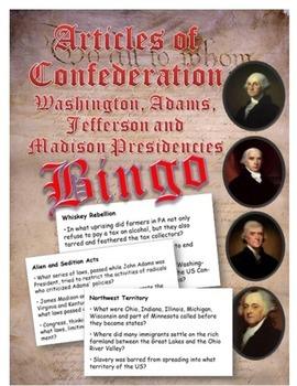 Articles of Confederation and Washington to Madison  Presidencies BINGO