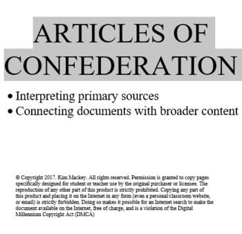 Articles of Confederation - primary source analysis