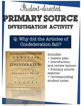Articles of Confederation primary source station activity - concise, student-led
